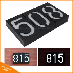 Signes d'adresse Doorplate LED solaire Numéro de la Maison de la lampe de feux de porche
