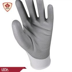 中国ハイカイリティ HPPE ナイロンスパンデックスライナーグレー PU パーム 塗装済み手作業安全手袋