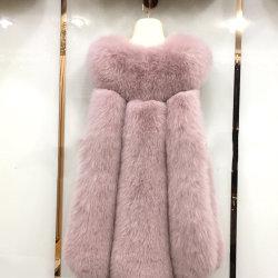 رفاهيّة سيدات [فوإكس] فروة دثار [موتيل-كلورس] معطف وسط طول ثعلب ريش صدرة شتاء طبقة لأنّ نساء