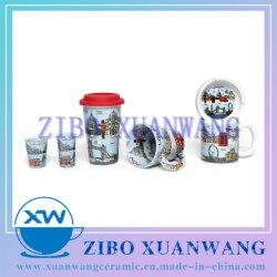 De dubbele Reeks van het Glas van de Mok van het Overdrukplaatje van de Mok van de Muur Volledige Asbakje Ontsproten van Ceramische Mok