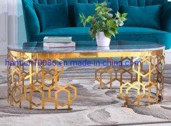 Le trou de la décoration design simple en acier inoxydable ovale en verre clair de table à café