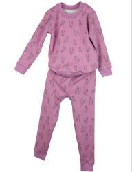 Kundenspezifische Vlies-Kinder steuern Abnützung-Breathable Baumwollkind-Winter-Kleidungs-Set-Nachtzeug für Mädchen automatisch an