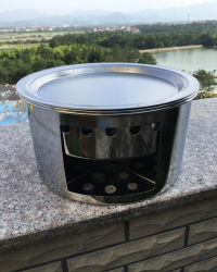 Piano cottura in acciaio inox Backpacking Fornello portatile legno Burning Stoves Per picnic barbecue Camp Escursioni con griglia Est14015
