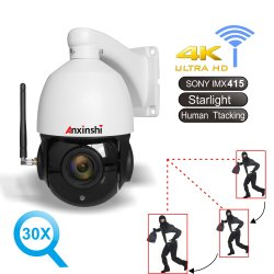 """كاميرا 4K PTZ IP 8 ميجا بكسل WiFi خارجي 4G SIM بشرية تتبع تلقائي AI بمعدل 30 ضعفًا مع إمكانية التكبير/التصغير، وخيار """"التوقع، الملاحظة، الشرح (POE)""""، كاميرا أمان الصوت Camhi"""