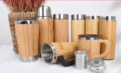 BPA 불포함 오리지널 티 텀블러 스트레이너 스테인리스 스틸 진공 내부 대나무 플라스크 FL5019