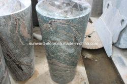 El verde jade Marbe Hua'un lavabo de pedestal&Lavabo Piedra Natural