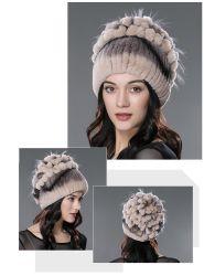 柔らかく、暖かいウサギの毛皮の帽子D1