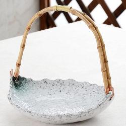 Plato de cerámica plato de ensalada de frutas de postre con asa de bambú