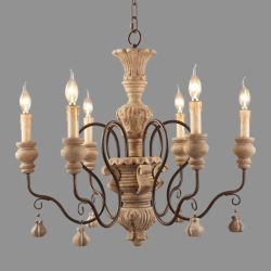 Antique Indicatore luminoso di legno afflitto Fixtures&#160 del lampadario a bracci; (WH-CI-15)