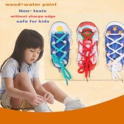 Le laçage des chaussures en bois Peg Conseil Puzzles Enfants Jouets