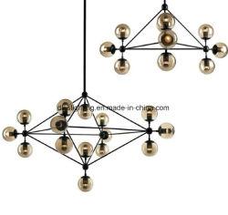 Желтый Стеклянный шарик Black Metal светодиодного освещения современная люстра
