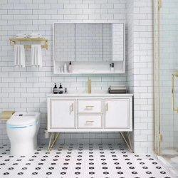 Governo dorato di vanità della stanza da bagno di legno solido dell'hotel della decorazione moderna della mobilia