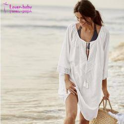 Última moda mujeres llevan blusa de algodón Bikini flojo Beach