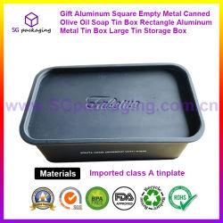 ギフトのアルミニウム正方形の空の金属によって缶詰にされるオリーブ油の石鹸の錫ボックス長方形のアルミニウム金属の錫ボックス大きい錫の収納箱