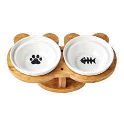 日本のタケおよび木製の陶磁器ペット供給二重ボールの食糧ボール高脚ボールラック