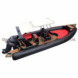 Venda quente 760cm semi rígida com casco de fibra de vidro costela insufláveis 760 boat para o Turismo
