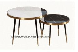 Round Table basse en verre avec or rose en acier inoxydable de base de l'échelle de poissons
