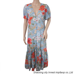 Nueva moda Flor Chiffon Imprimir Largo Damas Casual Dress