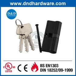 Noir mat en laiton solide porte double vérin de verrouillage du vérin de profil de l'Euro avec clé principale