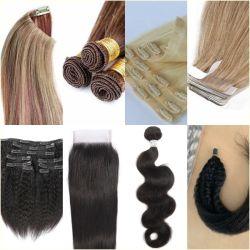 ألوان متعددة 100% الشعر البشري مربوط يدويا قطع الشعر تمدّد الشعر نسج