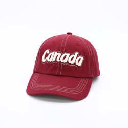 Diseño de Moda lavado rojo vino Velcro Gorra de béisbol con bordado en 3D.