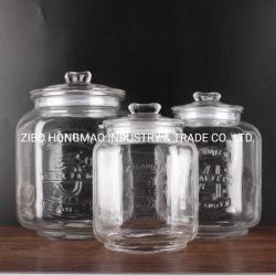[4ل] [5ل] [7ل] قدرة كبيرة زجاجيّة طعام يرجّ تخزين [مسن جر] مع فول سودانيّ شكل زجاج أغطية