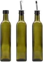 500ml 스테인리스 손가락으로 튀김을%s 가진 진한 녹색 정연한 올리브 기름 병 분배기