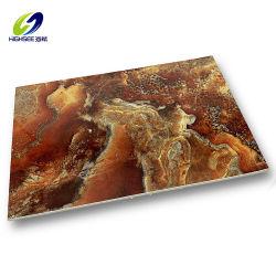 4x8 pies Panel de resina recubierto de UV de PVC de Falso mármol UV hoja para la Decoración de pared interior