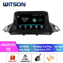 Witson Android 10 Alquiler de DVD, navegación GPS para 2013-2018 Ford Kuga 4GB de RAM 64 GB de memoria Flash Pantalla grande en el coche reproductor de DVD
