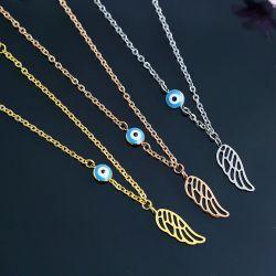Amazonas transfronteriza de las ventas directas, los fabricantes de joyas de acero de titanio procesamiento personalizado, la moda ambiente Single-Wing Pulsera ojo azul