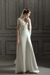 Короткие рукава устраивающих платье пляж сад атласный шелк свадебные платья фунтов20423