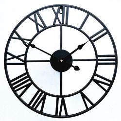 고온 베이킹 마감 검은색 메탈 철 로마 월 시계