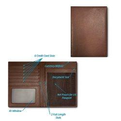 Bloqueio de RFID marrom do titular do passaporte de pele artificial Wallet para homens