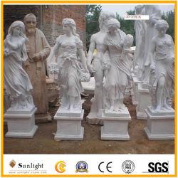 صنع ماهرة الرخام الأبيض أربعة موسم تمثال من الرخام الأبيض نحت تزيين الحديقة