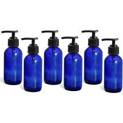500ml blaue Glasboston Flaschen-Handseifen-Handdesinfizierer-Luxuxflasche mit Lotion-Pumpen-Schutzkappe