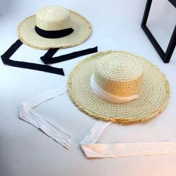 Sombrero de paja para adultos al por mayor con cordón ajustable para el verano Trabajando