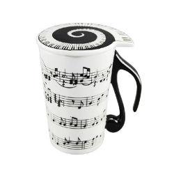 Il Musical/musica nota la tazza di ceramica del latte del caffè di canzone del piano