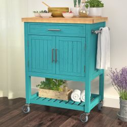Mobiliário de estilo casa de madeira de borracha topo Carrinho de cozinha Butcher bloco com 1 Porta 1 gaveta