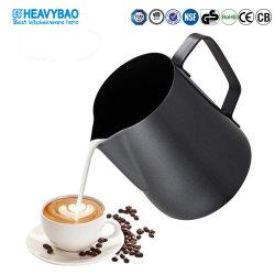 Pot van de Melk van de Bloem van de Trekkracht van de Koffie van het Roestvrij staal van Heavybao de Zwarte