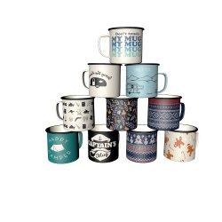 Llanta de acero inoxidable pintado de la llanta de acero esmaltado Taza de Café Taza de Té con la etiqueta Diseño personalizado de promoción de regalo menaje de cocina