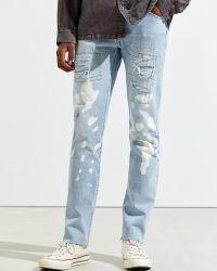 Personalizado de venta al por mayor Celeste con dibujo de color de pantalones vaqueros pantalones vaqueros Mens Ripped Spandex Denim Pant