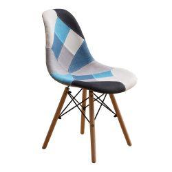 Conception unique café français Tissu en bois massif chaise avec Patchwork Salle à manger pour la maison de conception