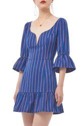 Proibir as mulheres1804-0530 Mini da mola de manga longa faixa de pescoço V vestido fora de dia