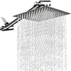 Haut carré sur la tête de la tête de douche en acier inoxydable