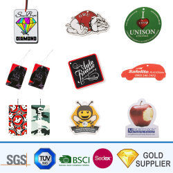 Logotipo personalizado Imprimir la moda ecológica en forma de dibujos animados de árbol de la fragancia de Aroma fragancias diferentes/Colgante Tipo de papel absorbente de accesorios de coche Ambientador de coche