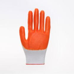 Mais competitivos 13G Shell de poliéster com laranja revestido de nitrilo de protecção de segurança luvas de trabalho