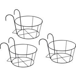 Sur le rail support Flower Pot balcon balustrade Hanging Basket titulaire semoir ronde Pot Rack pour la décoration de jardin d'accueil