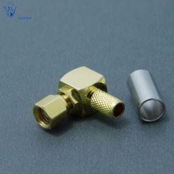 SMC coaxial RF Angle droit femelle Forrg58 Câble de connecteur à sertir