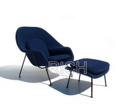 オットマンが付いているファブリックSaarinenの子宮のラウンジのリントの椅子