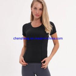 Commerce de gros de mode faible MOQ Lady femmes Sport Tee shirt salle de gym de l'entraînement yoga de la condition physique